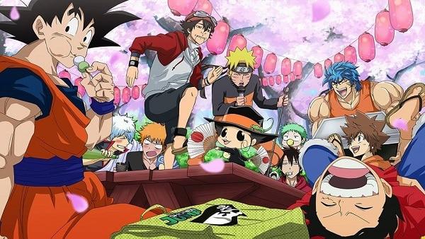 Goku Luffy y Naruto de Fiesta comiendo ramen